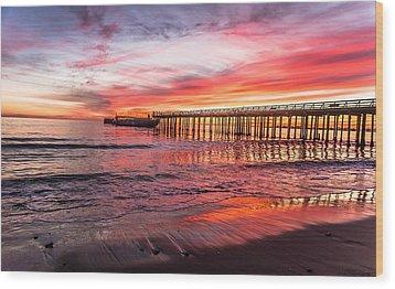 Seacliff Sunset Wood Print by Lora Lee Chapman
