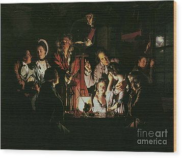 An Experiment On A Bird In The Air Pump Wood Print by Joseph Wright of Derby