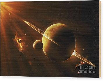 An Extraterrestrial Spacecraft Wood Print by Kevin Lafin