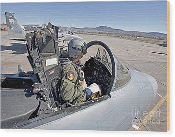 An F-15 Pilot Performs Preflight Checks Wood Print by HIGH-G Productions