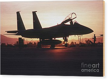 An F-15c Eagle Aircraft Silhouetted Wood Print by Stocktrek Images