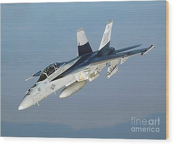 An Fa-18f Super Hornet Conducts Wood Print by Stocktrek Images