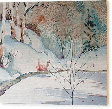 An Icy Winter Wood Print by Mindy Newman