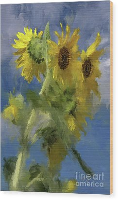 Wood Print featuring the photograph An Impression Of Sunflowers In The Sun by Lois Bryan