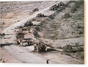 An Iraqi Armored Column Destroyed Wood Print by Everett