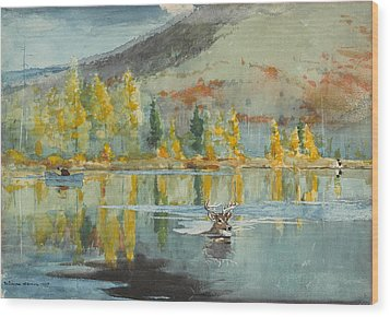 Wood Print featuring the painting An October Day by Winslow Homer