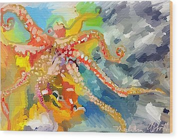 An Octopus Lunch Inspired This Painting Of An Octopus  Wood Print