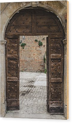 An Old Wooden Door 2 Wood Print by Andrea Mazzocchetti