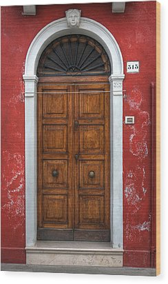 an old wooden door in Italy Wood Print by Joana Kruse