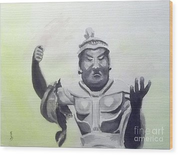 Wood Print featuring the painting An Oriental Statue At Toledo Art Museum - Ohio by Yoshiko Mishina