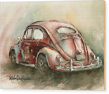 An Oval Window Bug In Deep Red Wood Print by Michael David Sorensen