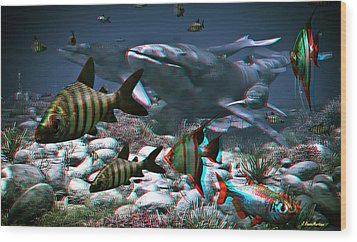 Anaglyph Whales Wood Print by Ramon Martinez