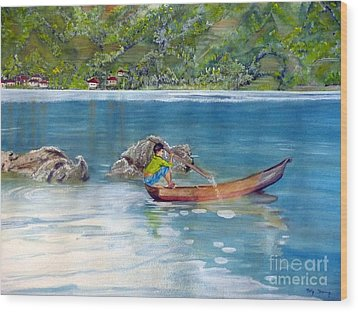 Wood Print featuring the painting Anak Dan Perahu by Melly Terpening