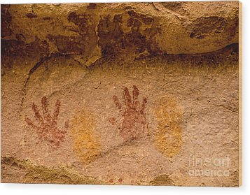Anasazi Painted Handprints - Utah Wood Print by Gary Whitton