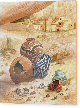 Wood Print featuring the painting Anasazi Remnants by Marilyn Smith