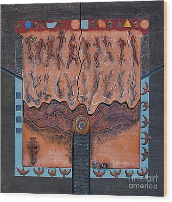 Ancestral Chart- Ancient Early - Hunters Gatherers - Chasseurs Cueilleurs - Cazadores Recolectores  Wood Print by Urft Valley Art