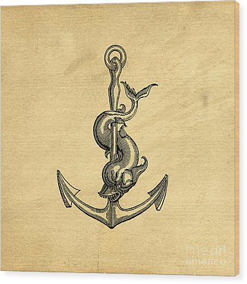 Wood Print featuring the drawing Anchor Vintage by Edward Fielding