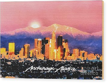 Anchorage - Bright-named Wood Print by Elaine Ossipov