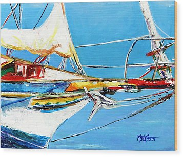 Anchored 2 Wood Print by Marti Green