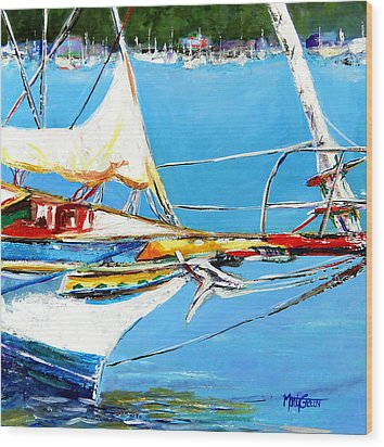 Anchored Wood Print by Marti Green