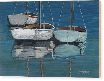 Anchored Reflections I Wood Print by Sharon Kearns