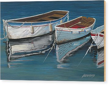 Anchored Reflections II Wood Print by Sharon Kearns