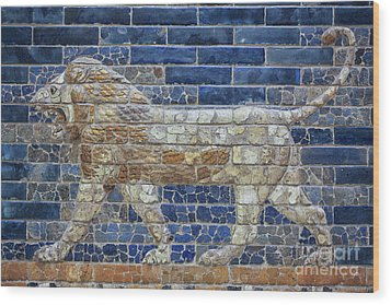 Ancient Babylon Lion Wood Print by Patricia Hofmeester