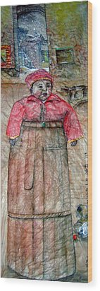 Wood Print featuring the painting Ancient Babysitter by Debbi Saccomanno Chan