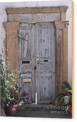 Ancient Garden Doors In Greece Wood Print by Sabrina L Ryan