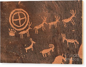 Ancient Indian Petroglyphs Wood Print by Gary Whitton