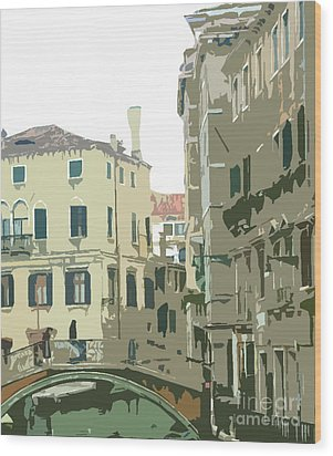 Ancient Italian Canal In Venice Wood Print by Mindy Newman