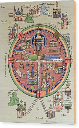 Ancient Map Of Jerusalem And Palestine Wood Print by French School