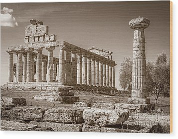 Ancient Paestum Architecture Wood Print