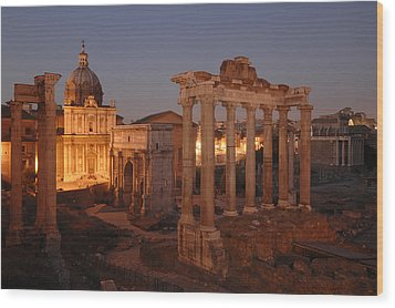 Ancient Romes Skyline At Sunset Wood Print by Kenneth Garrett