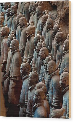 Ancient Soldier Statues Stand At Front Wood Print by O. Louis Mazzatenta