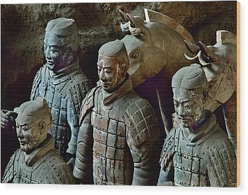 Ancient Terracotta Soldiers Lead Horses Wood Print by O. Louis Mazzatenta