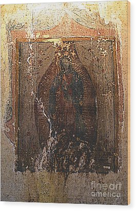 Ancient Virgin Of Guadalupe - Ex-convento Yuriria Wood Print by Mexicolors Art Photography