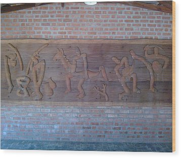 Ancient Wall Carving Wood Print by Joni Mazumder