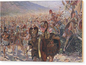 Ancient Warriors Wood Print by Georges Marie Rochegrosse