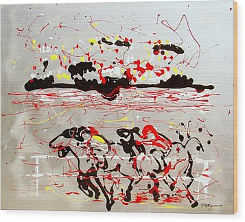 Wood Print featuring the mixed media And Down The Stretch They Come by J R Seymour