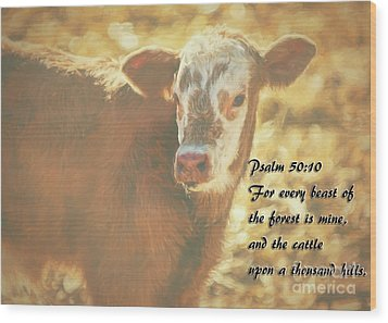 And The Cattle Wood Print by Janice Rae Pariza