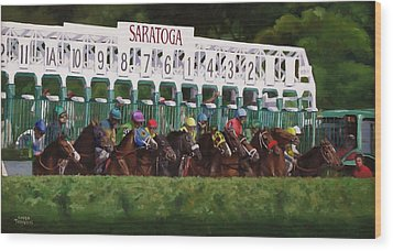 And Theyre Off Wood Print by Linda Tenukas