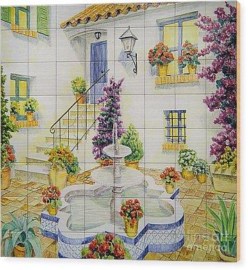 Andalusian Patio Wood Print by Jose Angulo