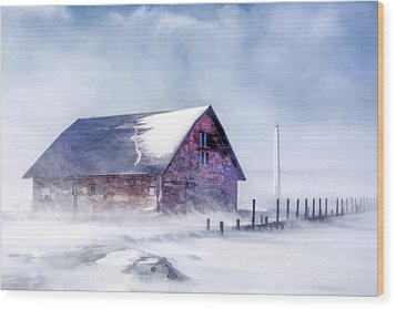 Wood Print featuring the painting Anderson Dock Winter Storm by Christopher Arndt
