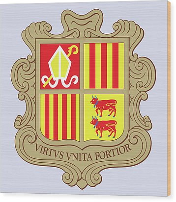 Wood Print featuring the drawing Andorra Coat Of Arms by Movie Poster Prints