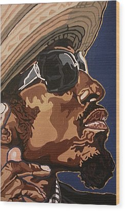 Wood Print featuring the painting Andre 3000 by Rachel Natalie Rawlins