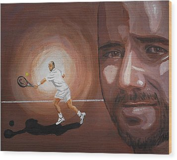 Andre Agassi Wood Print by Quwatha Valentine