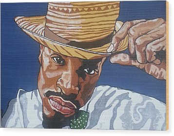 Wood Print featuring the painting Andre Benjamin by Rachel Natalie Rawlins