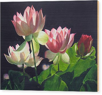 Wood Print featuring the painting Andrea's Lillies by Marina Petro