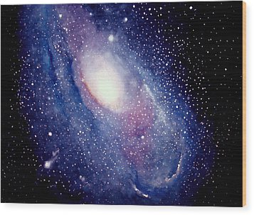 Wood Print featuring the painting Andromeda Galaxy by Allison Ashton